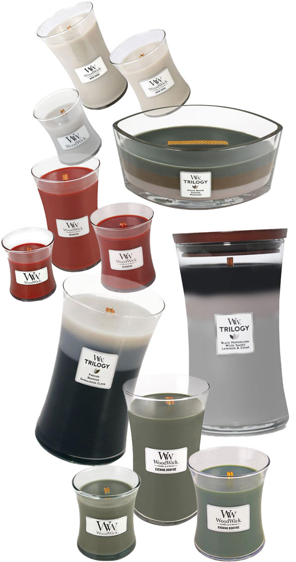 A variety of camping themed WoodWick Candles for any father.