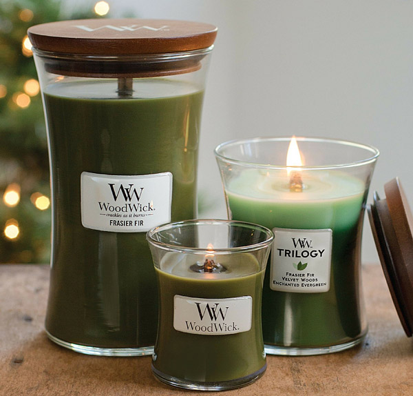 WoodWick Candles small sampler, medium rotator, and large all day burn candle sizes