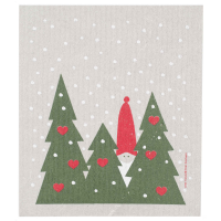 Tomte In Forest Swedish Dishcloth