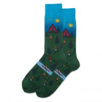 Men's Cabin Scene Socks - Turquoise