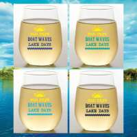 Lake Days S/4 Shatterproof Stemless Wine Glasses