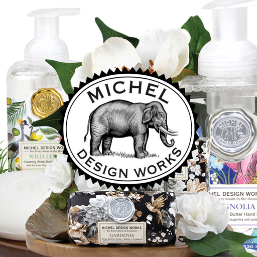 Click here to go to The Woods Gifts, which carries a much wider selection of candles, home goods, gifts, foods, bath and body products such as a line of Michel Design Works products.